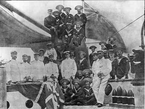 Officers and Crew of the Gayundah circa 1898. Lt. Curtis, Capt. Drake, Lt. Beresford. Reference: Queenslander 10.12.1898. p.1129 Copyright: John Oxley Library, Negative #3009