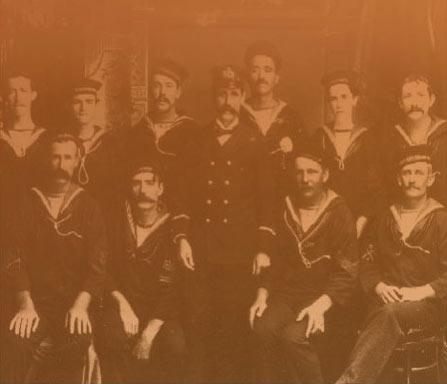 Members of the Queensland Marine Defence Force. Names of Individuals not known by author. Copyright: Details unknown.