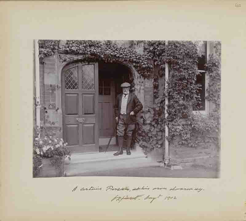 Hume, taken in frontof his house in 1902Presumably a self portrait.