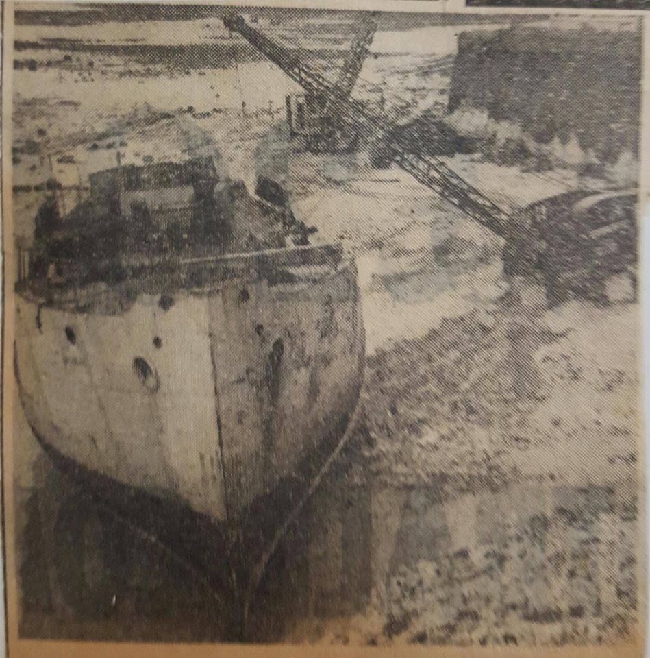 Gayundah being beached and filled with concrete. 1958. (Courtesy TS Gayundah archives)
