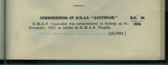 Gayundah commissioning 1915